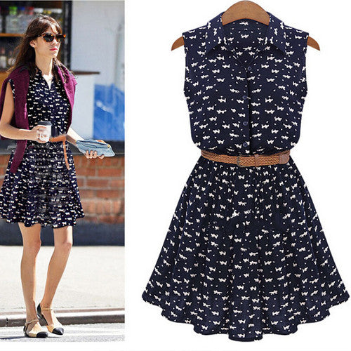 Cat Lover Printed Blue Dress