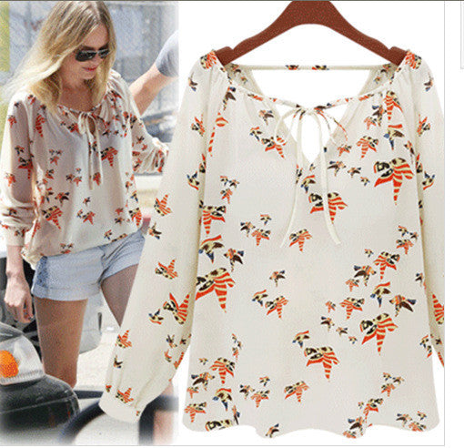 Beige and Prints Chiffon Blouse