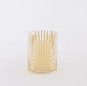 Centrepiece Hire - Vase 18cm Gold Striped Glass Hurricane Melbourne Hire