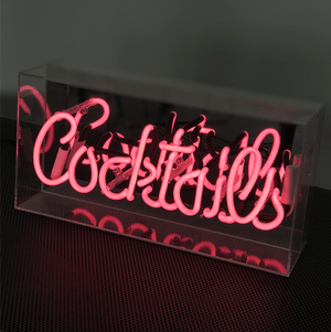Neon Sign Cocktails Pink 38cm Melbourne Hire