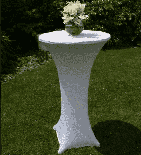 Furniture Hire - Bar Table Tall With White Stretchy Lycra Cover Melbourne Hire