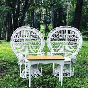 Furniture Hire - Chair Peacock 150cm White Rattan Set Of 2 Melbourne Hire