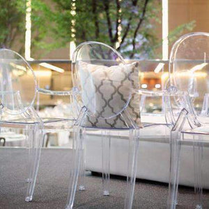 Furniture Hire - Chair Victoria Ghost Clear Seating Melbourne Hire