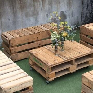 Furniture Hire - Pallet Crate Rustic Bench 118cm Melbourne Hire