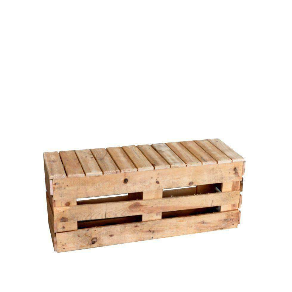 Furniture hire pallet crate rustic bench 47cm outdoor event melbourne hire