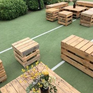 Furniture Hire - Pallet Crate Rustic Seat 47cm Melbourne Hire