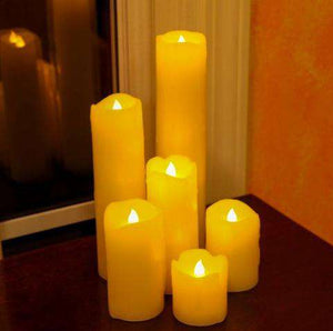 Lantern & Lighting Hire - Candle Flameless LED Pillar 5cm, 7.5cm, 10cm, 12.5cm, 17.5cm & 22.5cm Set Of 6 Australian Hire