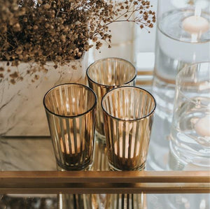 Lantern & Lighting Hire - Candle Holder Gold Stripe Tea Lights Melbourne Hire