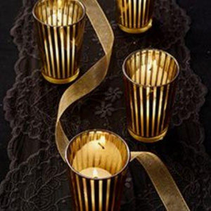 Lantern & Lighting Hire - Candle Holder Gold Striped Melbourne Hire Set Of 24