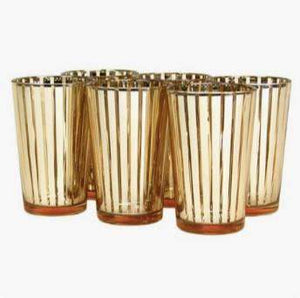 Lantern & Lighting Hire - Candle Holder Gold Striped Modern Art Deco Tea Lights Melbourne Hire