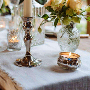 Lantern & Lighting Hire - Candlestick 12cm Elegant Silver Set Of 2 Australian Hire