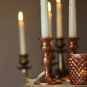 Lantern & Lighting Hire - Candlestick 12cm Rustic Copper Set Of 2 Australian Hire