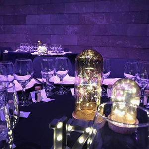 Lantern & Lighting Hire - Fairy Lighting Amber Glass Dome Cloche Christmas Decor Set Of 3 Melbourne Hire