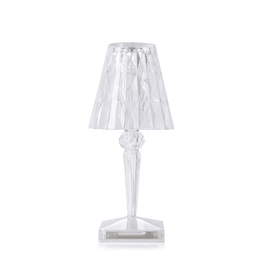 Lamp Table 22cm Kartell Clear Crystal Battery-Powered LED Lampshade Melbourne Hire