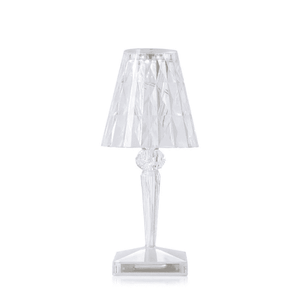 Lantern & Lighting Hire - Lamp 22cm Kartell Clear Crystal Battery-Powered LED Lampshade Melbourne Hire