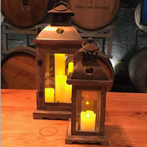 Lantern & Lighting Hire - Lantern 45cm Large Iron And Wooden Rustic Event Australian Hire