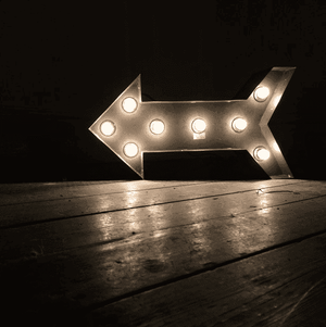 Lantern & Lighting Hire - Marquee Light 50cm Hollywood LED Arrow Sign Melbourne Hire