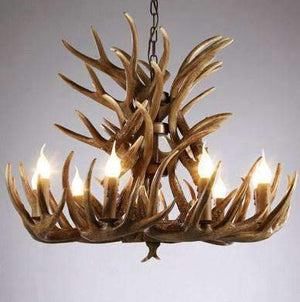 Lanterns & Lighting - Chandelier Antler 86cm 9 Arm Resin Rustic Brown Scandi Ski Chalet