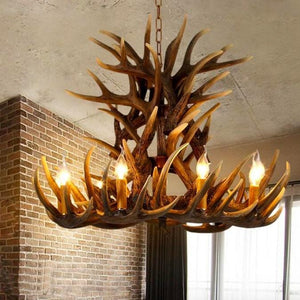 Lanterns & Lighting - Chandelier Antler 9 Arm 86cm Scandi Chalet Lighting