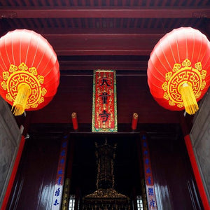 Lanterns & Lighting - Lantern Fabric 40cm Chinese Red Gold Set Of 2
