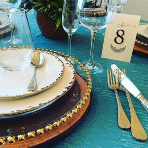 Props Hire - Charger Plate 30cm Gold Beaded Glass Glamorous Event Melbourne Hire
