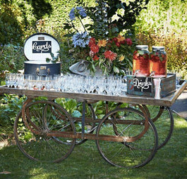 Drinks Refreshments Rustic Country Open Wooden Cart Melbourne Hire