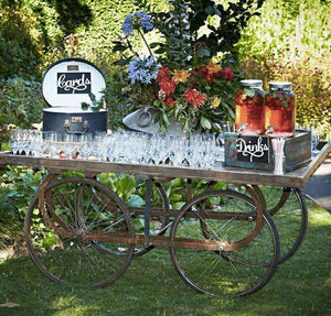 Props Hire - Drinks Refreshments Rustic Country Open Wooden Cart Melbourne Hire