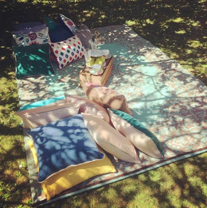 Props Hire - Outdoor Picnic Rug And Boho Outdoor Cushions Set Of 6