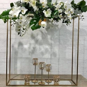Props Hire - Plinth 100cm Gold Long Floral Stand Melbourne Hire