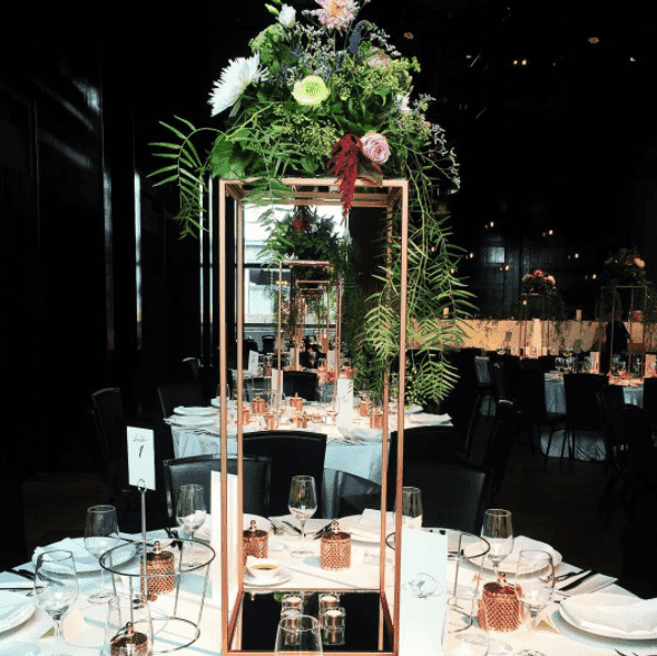 Plinth 100cm Gold Metal Floral Stand Melbourne Hire