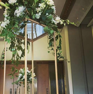 Props Hire - Plinth 100cm Gold Metal Floral Stand Melbourne Hire