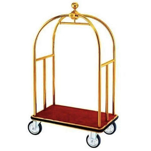 Props Hire - Trolley 186cm Gold Hotel Luggage Cart Melbourne Hire