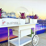 Props Hire - Vintage Fairy Floss White Wheeled Cart Melbourne Hire