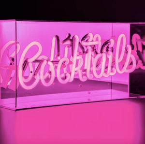 Sign Hire - Neon Sign Cocktails Pink 38cm Melbourne Hire