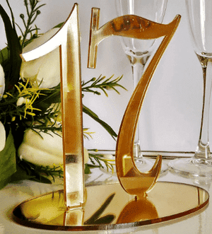 Table Number Hire - Table Number 15cm Gold Mirrored Acrylic Glamour Event Australian Hire