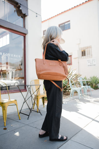Merkato signature zip tote parker clay mothers day gift guide sustainable leather handbags
