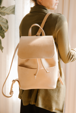 Abby drawstring backpack parker clay leather backpack