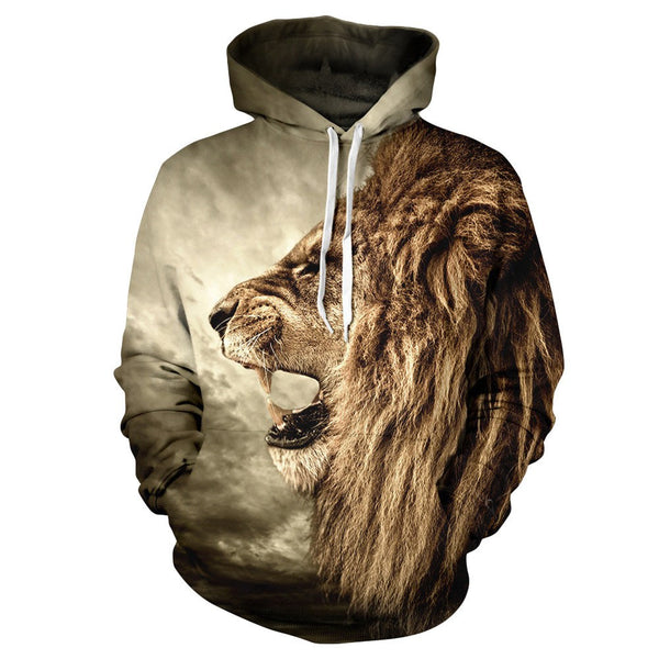 2017 New Spring Casual Animal Hoodies Men/Women 3D Lion Sweatshirt Print Lion Head Hip Hop Pullover Hoodies streetwear