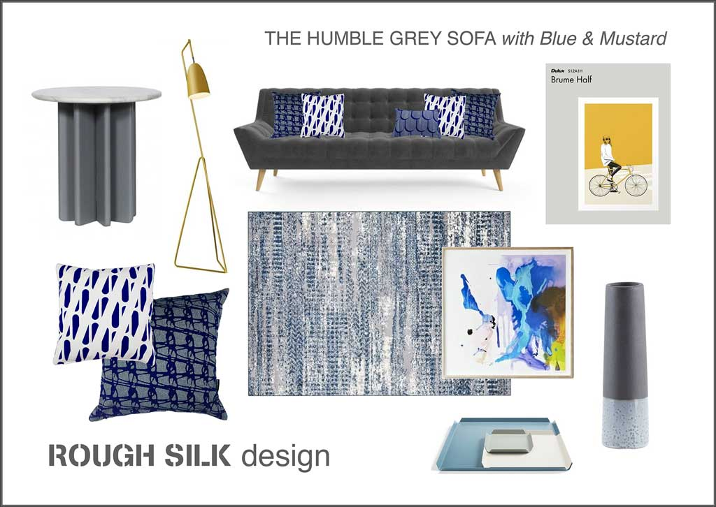 The Humble Grey Sofa with Blue & Mustard