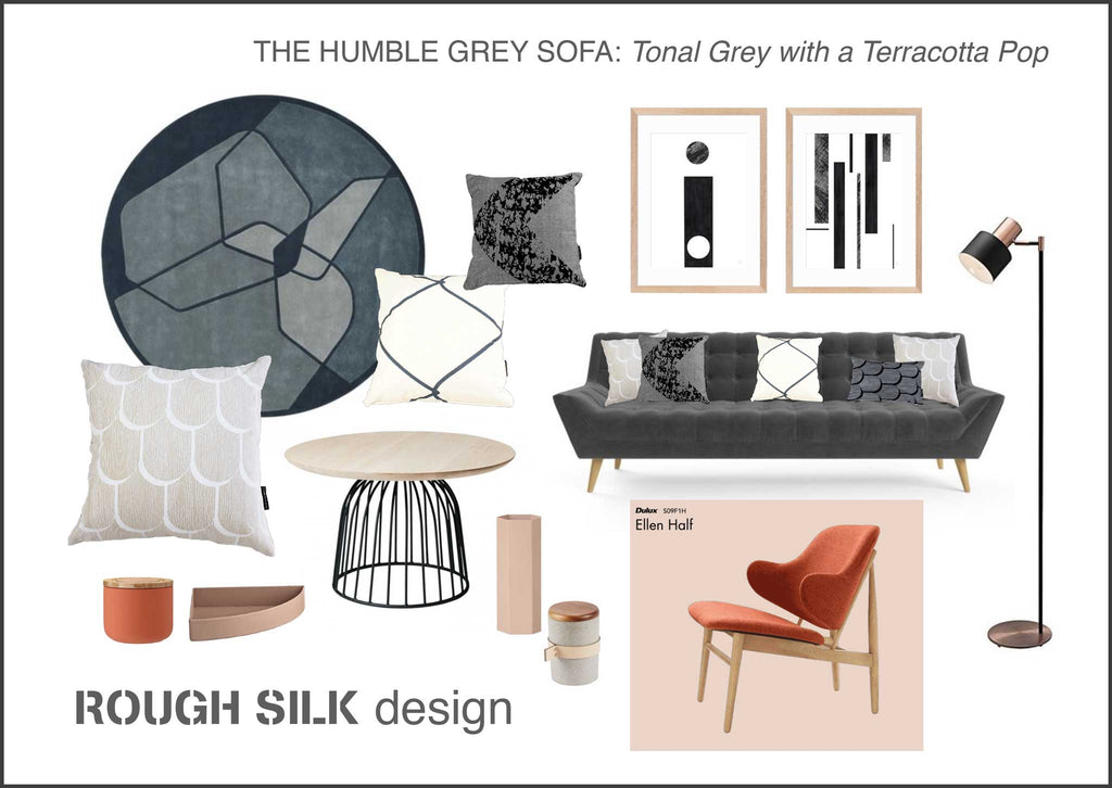The Humble Grey Sofa: Neutral with a Pop