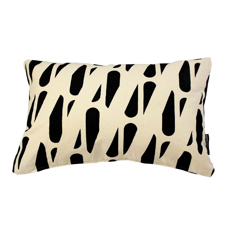 TRACKS RECTANGLE CUSHION / 45x30 / Black on Natural