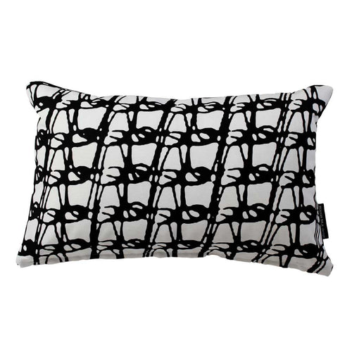 WEAVE RECTANGLE CUSHION / 45x30 / Black on White