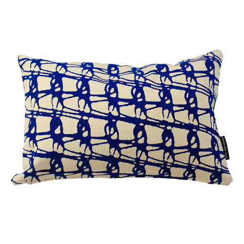 WEAVE RECTANGLE CUSHION / 45x30 / Blue on Natural