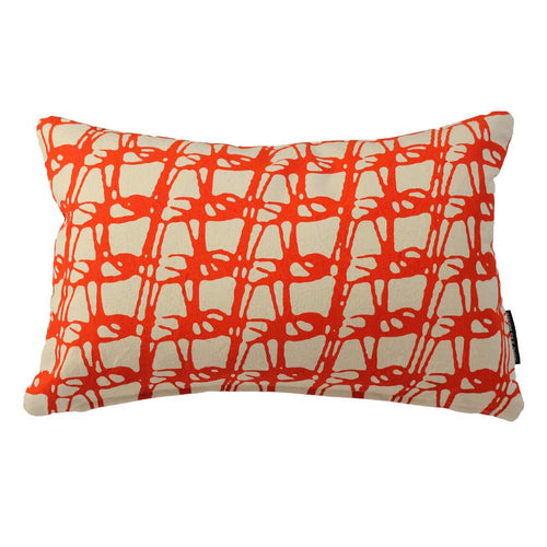 WEAVE RECTANGLE CUSHION / 45x30 / Tangerine on Natural