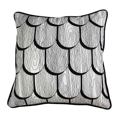 TIMBER SHINGLES SQUARE CUSHION / 45x45 / Black on White