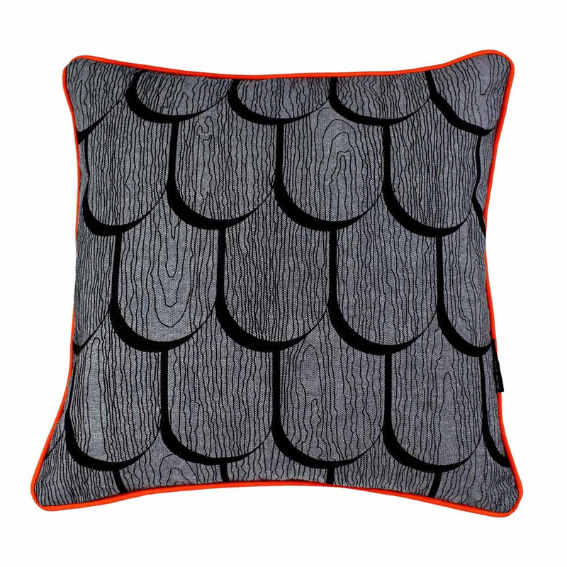 TIMBER SHINGLES SQUARE CUSHION / 45x45 / Black on Grey Denim