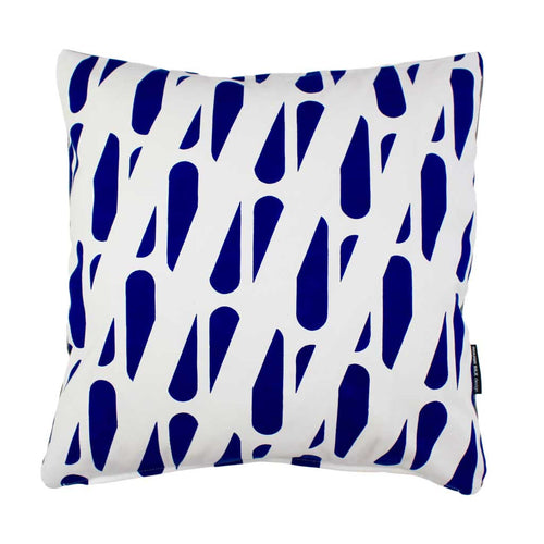 TRACKS SQUARE CUSHION / 45x45 / Blue on White