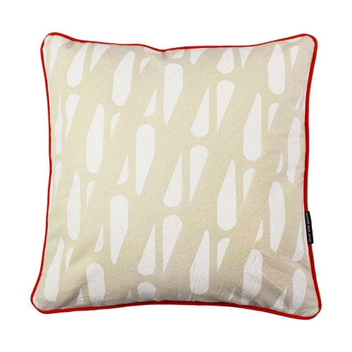 TRACKS SQUARE CUSHION / 45x45 / White on Natural