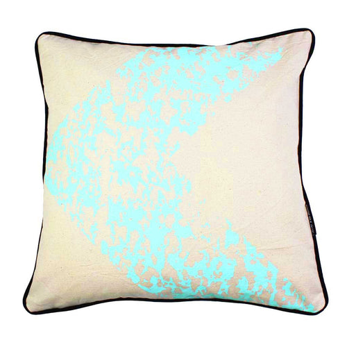 ARROW-TRACKS SQUARE CUSHION / 45x45 / Blue Mint on Natural