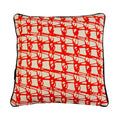 WIRED-WEAVE SQUARE CUSHION / Tangerine on Natural
